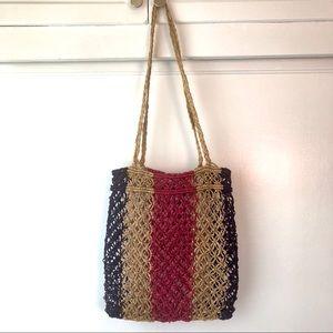 Handbags - Raffia macrame boho tote bag